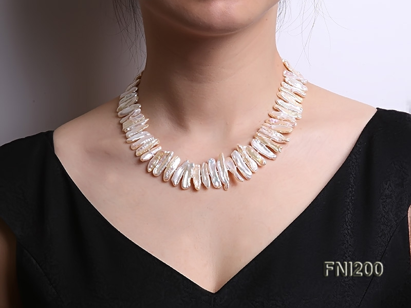 Classic 6×18.5-7x25mm Pink Freshwater Pearl Sticks Necklace