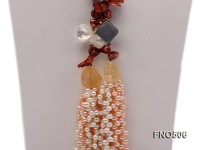 5-17mm coffee and pink irregular freshwater pearl and crystal and seashell necklace