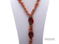5.5*8mm orange keshi freshwater pearl with carved red agate opera necklace