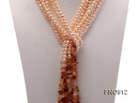 5*7mm natural pink flat freshwater pearl with agate chips opera necklace