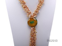 4*10.5mm gamboge keshi pearl with crystal and green agate necklace
