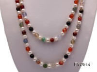 7.5mm natural white round freshwater pearl with multicolor agate opera necklace