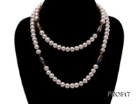9mm natural white flat freshwater pearl with crystal necklace