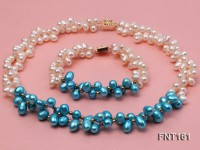 Tow-strand White & Blue Freshwater Pearl, Crystal Beads and Zircons Necklace and Bracelet Set