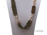 Three-strand 7x8mm Side-drilled Freshwater Pearl Necklace with Crystal and Jade Beads