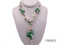 12-15mm natural white coin freshwater pearl with drop jade opera necklace