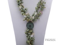 7*14mm grass green keshi freshwater pearl with white drop shell necklace