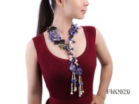 irregular white crystal with gemstone opera necklace with agate and freshwater pearl