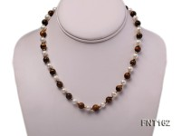 8mm White Freshwater Pearl & Black Agate Beads Necklace and Bracelet Set