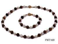 8mm White Freshwater Pearl & Tiger-eye Beads Necklace and Bracelet Set