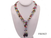 7-10mm multicolor freshwater pearl with irregular crystal necklace
