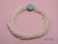 20-strand White Oval Freshwater Pearl Necklace with a Turquoise Clasp