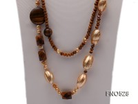 gold freshwater pearl with natural tiger eyes stone and yellow shell necklace