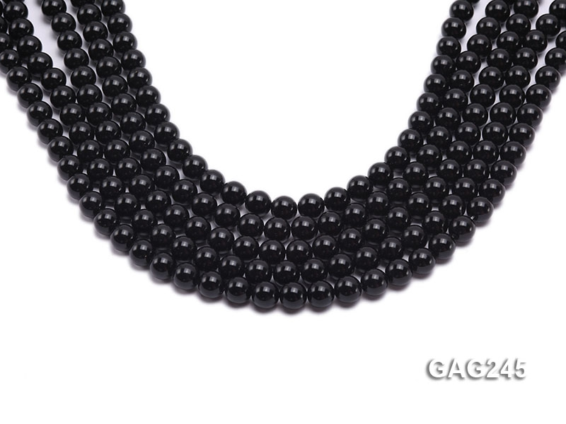 wholesale 8mm round black agate strings