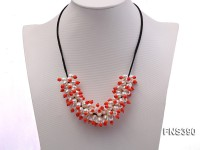 natural 7*8mm white rice freshwater pearl with orange coral beads necklace