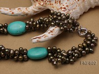 Three-strand Dark-green Freshwater pearl and Turquoise Beads Necklace