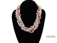 Three-strand White Freshwater Pearl and Dark-red Button Pearl Necklace