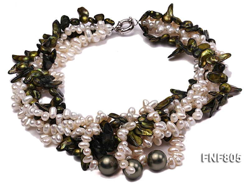 Five-strand White Freshwater Pearl and Dark-green Tooth-shaped Pearl Necklace with Shell Pearl