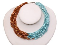 Multi-strand 5-6mm Light-blue and Coffee Freshwater Pearl Necklace