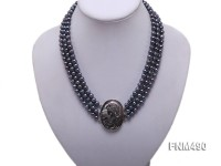 3 strand black round freshwater pearl necklace