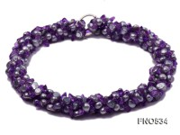 6-7mm purple flat freshwater pearl with crystal chips opera necklace