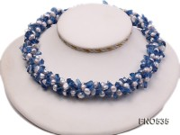 6-7mm blue flat freshwater pearl with blue crystal chips opera necklace