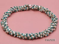 5-6mm natural white flat freshwater pearl with turquoise chips opera necklace