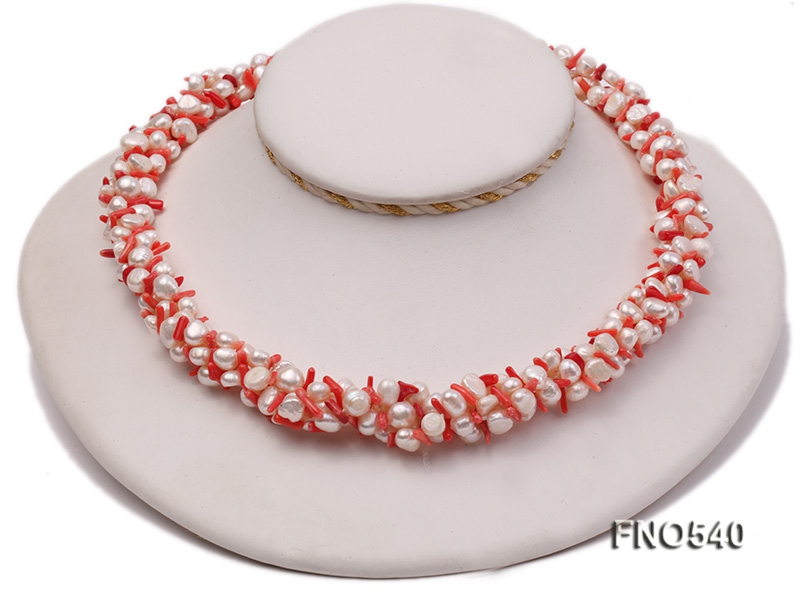 5-6mm natural white flat freshwater pearl with red coral necklace