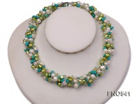 5-6mm white and green freshwater pearl with blue turquoise chips necklace