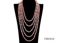 natural white round freshwater pearl with red coral necklace