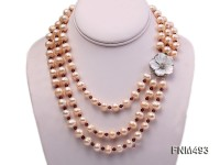 3 strand pink freshwater pearl and crystal necklace