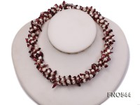 5-6mm white flat freshwater pearl with tourmaline chips necklace