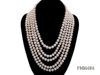 5 strand 6-7mm white round freshwater pearl necklace