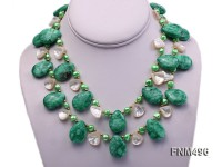 2 strand green freshwater pearl,jade and seashell necklace