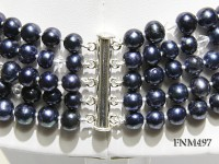 5 strand dark bule round freshwater pearl and crystal necklace