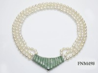 3 strand 7.5mm white round seawater pearl necklace with gemstone necklace