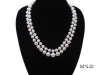 2 strand white round seashell pearl necklace with jade clasp