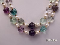 2 strand white freshwater pearl and fluorite necklace