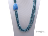 6-7mm blue flat freshwater pearl with gemstone necklace