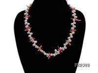 natural 6*8mm white irregular freshwater pearl with pink coral single Strand necklace