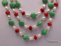 3 strand white freshwater pearl,coral and turquoise necklace with sterling sliver clasp