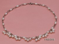 5-6mm natural white rice freshwater pearl single necklace