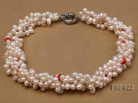 Four-strand 4.5-6.5mm White Freshwater Pearl and 4.5mm Red Coral Beads Necklace