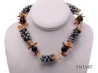 Freshwater Pearl, Multi-color Crystal Beads & Agate Beads Necklace, Bracelet and Earrings Set