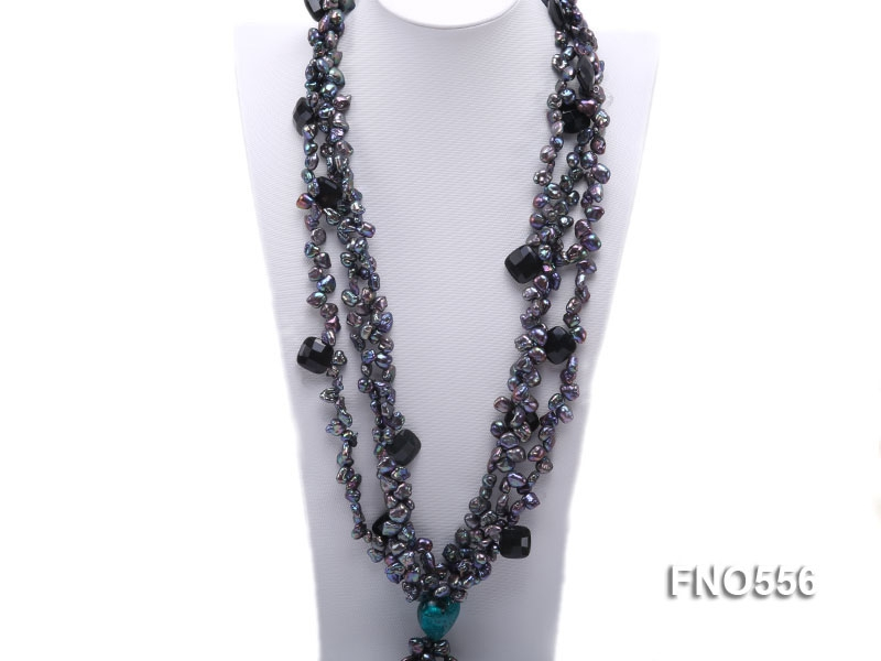 black keshi freshwater pearl with carved black agate and heart crystal necklace