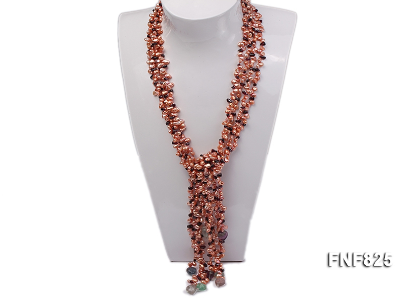Five-strand 4X6mm Pink Side-drilled Keshi Pearl and Garnet Chips Necklace with Fluorite Beads