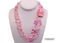 7-8mm pink freshwater pearl and drip-shaped crystal necklace with seashell clasp