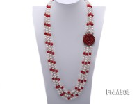 3 strand white freshwater pearl and red coral necklace with coral clasp