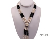 5-6mm natural white round freshwater pearl with black carved agate opera necklace