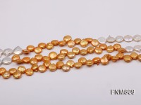 Three-strand 11-12mm White and Golden Freshwater Pearl Necklace